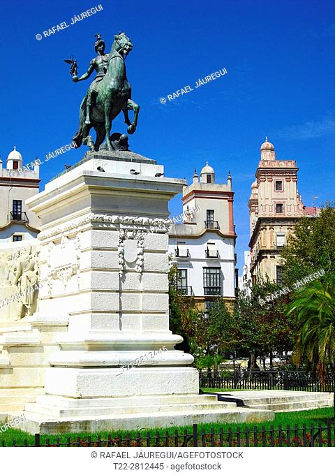 Cadiz (Spain). Detail of the Monument to the Cortes of 1812 in the city of Cadiz,
