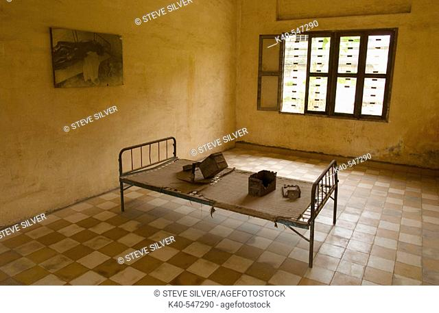 Tuol Sleng (Security Prison 21, or S-21). Phnom Penh, Cambodia. Formerly known as Tuol Svay Prey High School, it became in 1975 the largest center of detention...