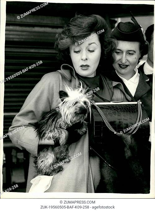 May 05, 1956 - Susan Hayward stamps - weeps and generally shows off because she could not take her puppy with her to Paris