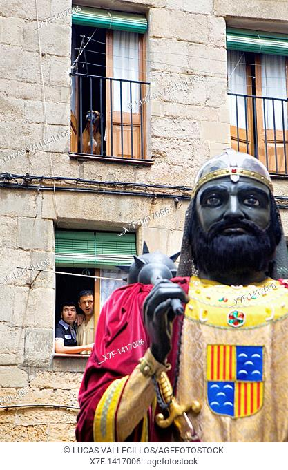 Parade Looking the giant La Patum Masterpiece of Oral and Intangible Heritage by UNESCO Berga  Barcelona  Catalonia  Spain