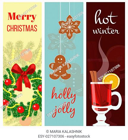 Christmas mood set. three stripes with wreath, Gingerbread, mulled wine. colored background. Christmas greetings postcard, banners
