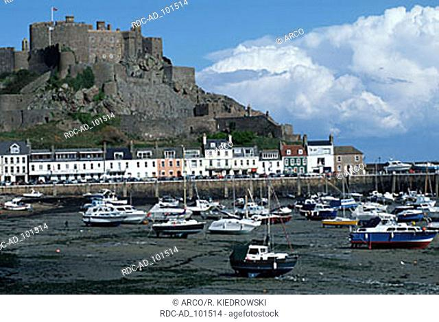 Mont Orgueil castle and harbour at low tide Gorey Jersey Channel Islands Great Britain