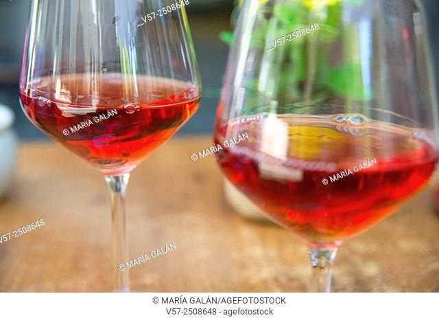 Two glasses of rose wine. Close view
