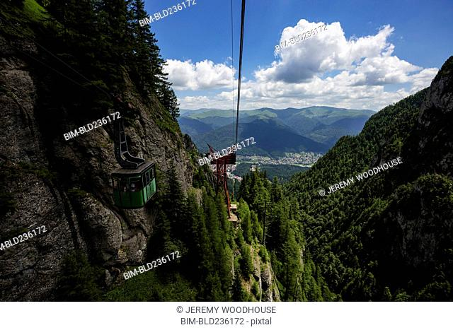 Cable car on mountain, Busteni, Wallachia, Romania