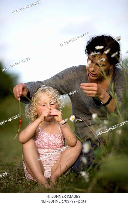 Mother and daughter threading wild strawberries on a straw, Sweden