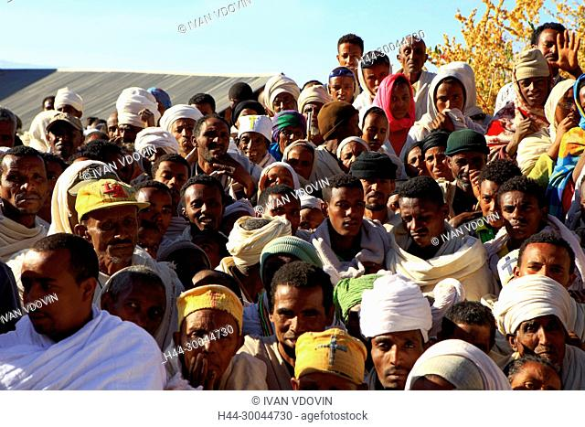 Pilgrims waitng for the entrance to The Dark tunnel, Lalibela, Amhara region, Ethiopia
