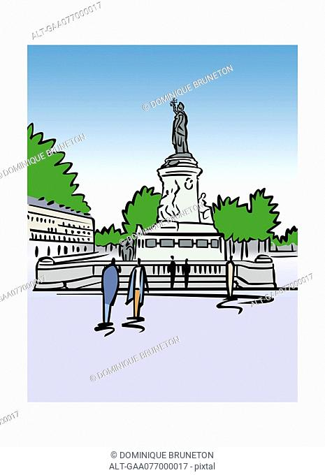 Illustration of Place de la Republique in Paris, France