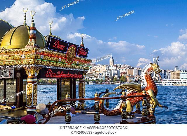 Eminonu Pier floating fish restaurants in Istanbul, Turkey, Eurasia