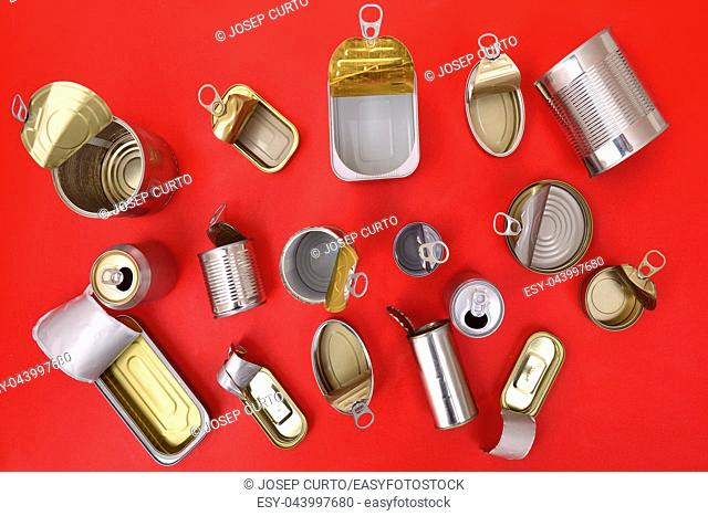 top view of tin can isolated on red