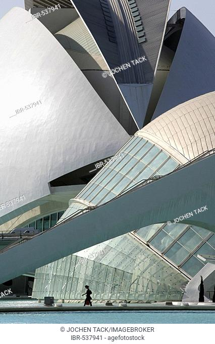 ESP, Spain, Valencia : Ciudad de las Artes Y de las Ciencias, City of arts and sciences. L'Hemisferic and Palau de les Arts Reina Sofia, concert, theatre hall