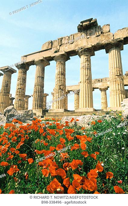 Italy. Sicily. Province of Trapani. Selinunte. Ruins of Greek temple from seventh century BC