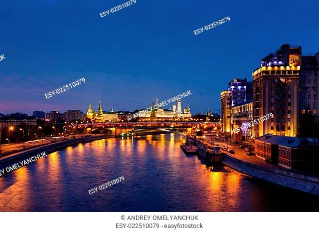 View on Moscow River Embankment and Moscow Kremlin in the Night