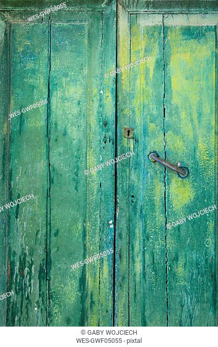 Old green wooden door, partial view