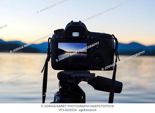 Sunset photos shot on a DSLR digital camera mounted to a tripod at a lake in Oregon