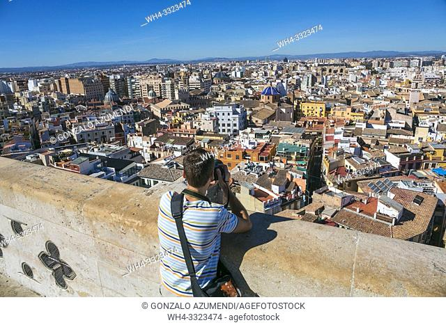 View of the city from Miguelete, Bell Tower of Santa Maria de Valencia. Cathedral. Valencia. Comunidad Valenciana. Spain