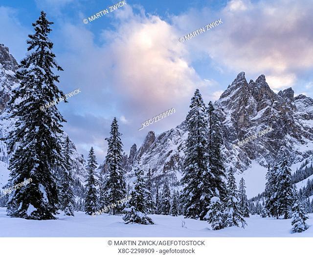 Valley Fischleintal (Val Fiscalina) in the nature park sexten dolomites in deep winter, part of the UNESCO world heritage dolomites. Mount Einserkofel