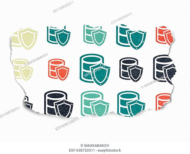Software concept: Painted multicolor Database With Shield icons on Torn Paper background