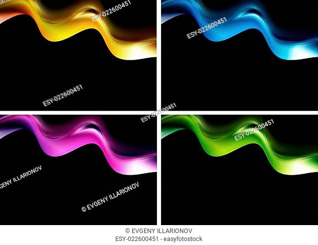 Bright waves on the black background