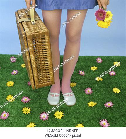 Young woman carrying picnic basket, low section