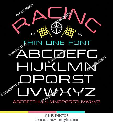 Sanserif font in thin line style. Color print on black background