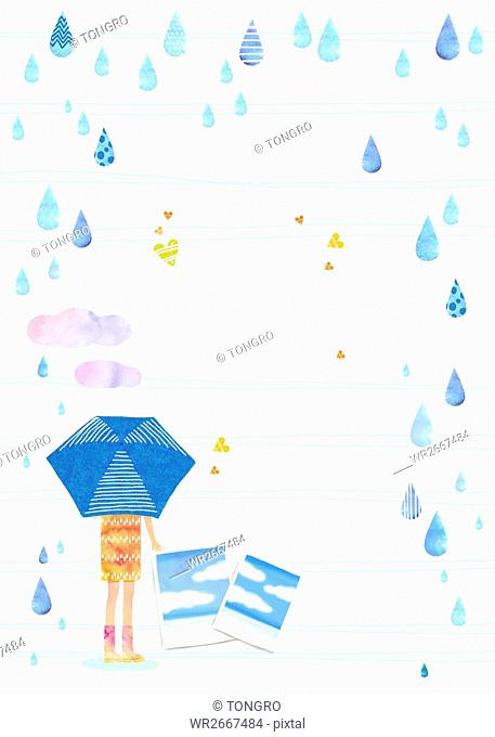 Background of summer with woman holding umbrella in the rain