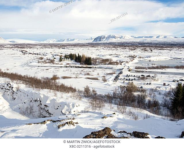 Thingvellir National Park covered in fresh snow in Iceland during winter. Thingvellir is part of UNESCO world heritage. Northern Europe, Scandinavia, Iceland
