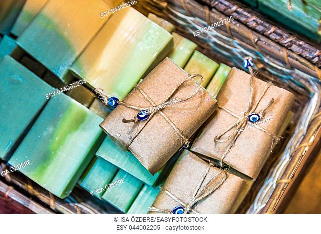 Different kind of Turkish natural handmade fruit soaps for sale in Grand Bazaar, Istanbul, Turkey