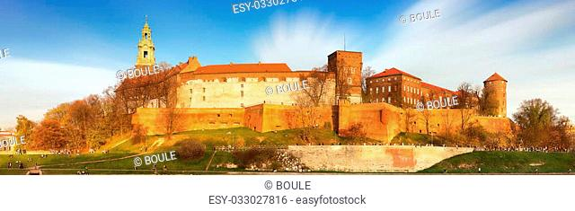 Royal castle of the Polish kings on the Wawel hill, over the Vistula river in the evening, Kwakow, Poland