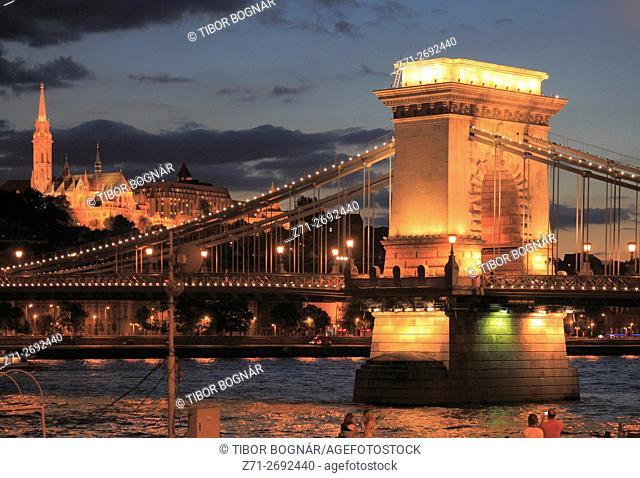 Hungary, Budapest, Chain Bridge, Matthias Church, Danube River,