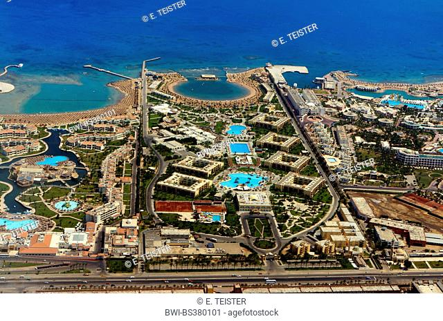 hotels at the beach of the Red Sea, Egypt, Hurghada
