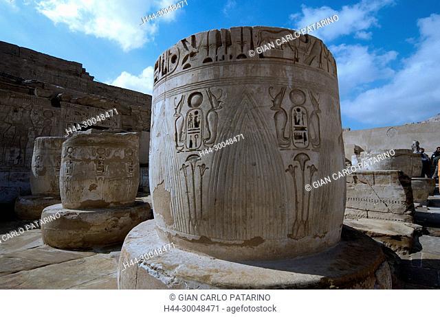 Medinet Habu, Luxor, Egypt, Djamet, mortuary temple of King Ramses III,( XX dyn. 1185 -1078 B.C) – Royal cartouche on the column base