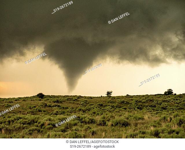 Tornado at Sunset in Kansas
