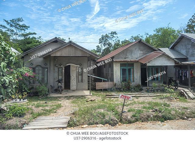 Scenery of Malay house along Singkawang-Aruk road, West Kalimantan, Indonesia