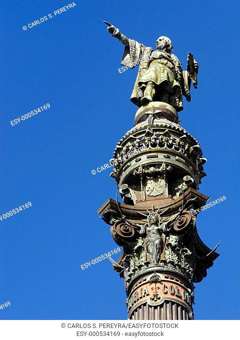 Monument to Colon, at the Ramblas of Barcelona, Spain