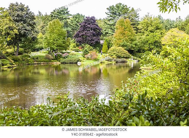 Asticou Azalea Garden in Northeast Harbor on Mount Desert Island in Maine, United States