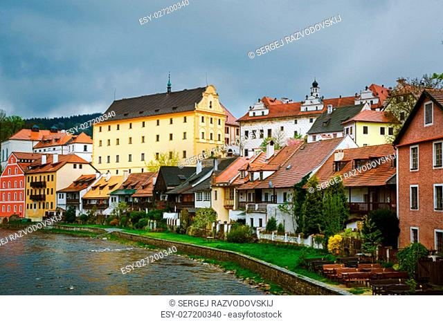 Hoses of Cesky Krumlov on the Bank of a River