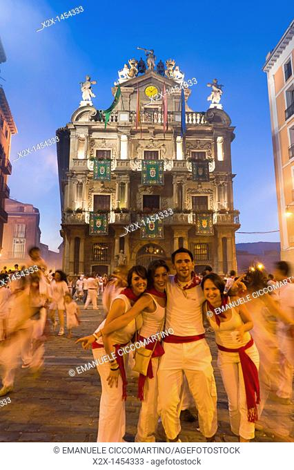 People in Town Hall Square, San Fermín street-partying, Pamplona, Navarra Navarre, Spain, Europe