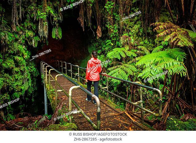 Hiker entering the Thurston Lava Tube, Hawaii Volcanoes National Park, Hawaii USA