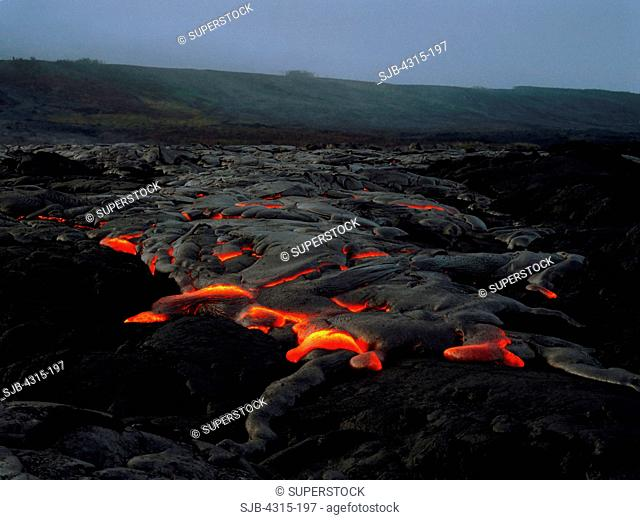 New Pahoehoe Spreading Over Old Pahoehoe