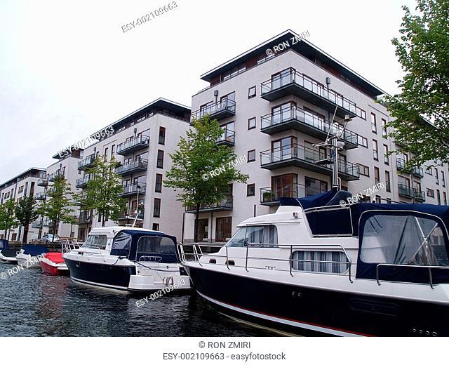 Denmark Copenhagen modern houses in front of the canals