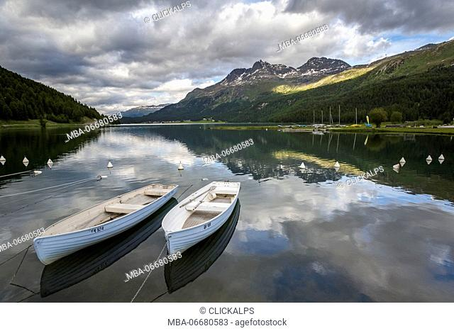 Two boats on Silvaplana Lake, Engadin, Graubunden, Switzerland