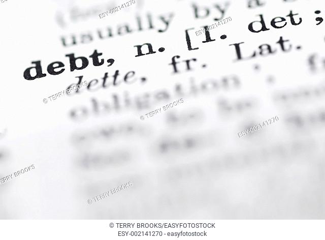 Shallow DOF, focus on debt in English dictionary
