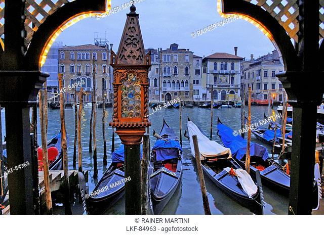 Gondola in a row, Canale Grande, Venice, Veneto, Italy