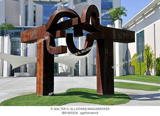 Berlin sculpture by Eduardo Chillida in front of the Chancellor's Office, Berlin, Germany, Europe