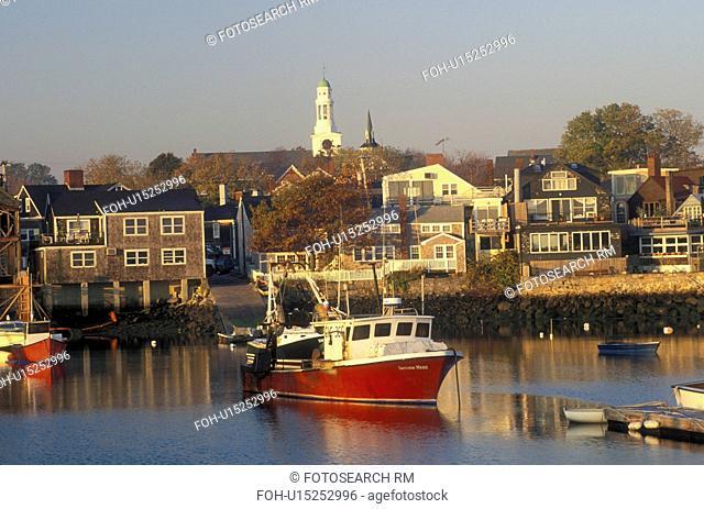 lobster boats, Rockport, Massachusetts, MA, Fishing boats docked in Rockport Harbor in Rockport in the fall