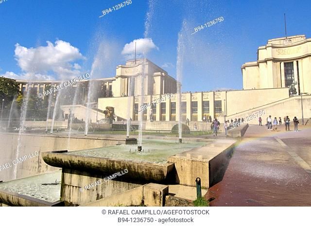 Gardens of the Trocadero: Chaillot Palace and Warsaw Fountain by Roger-Henri Expert, Paris, France