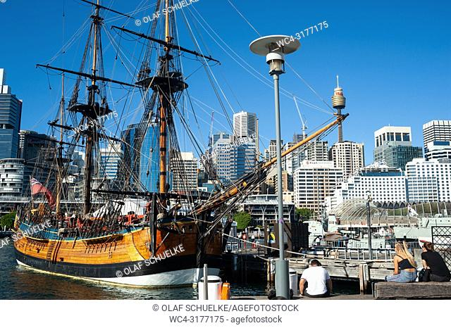Sydney, New South Wales, Australia - A sailing vessel is seen in Darling Harbour with Sydney's cityscape of the Central Business District in the backdrop