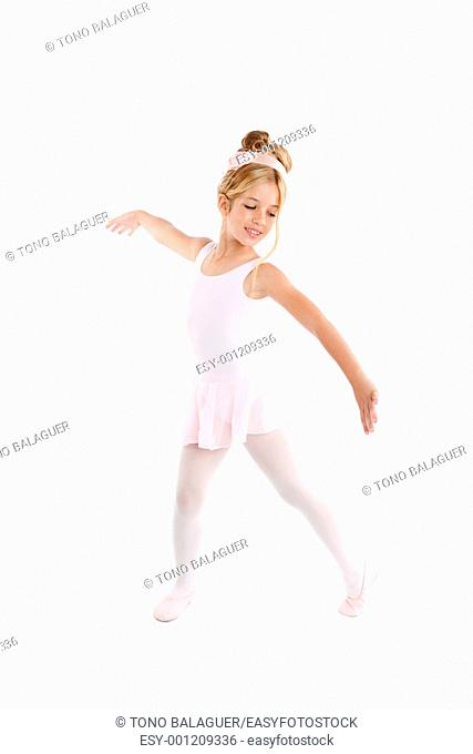 Ballerina little ballet children dancer dancing isolated on white background