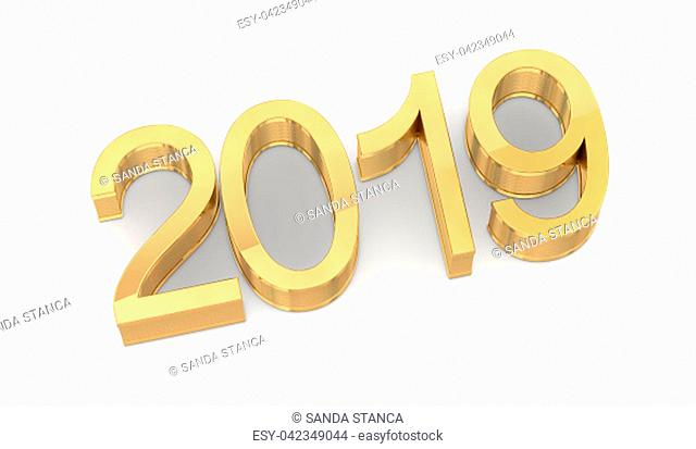 3D Golden 2019 on White Background. Three-dimensional rendering