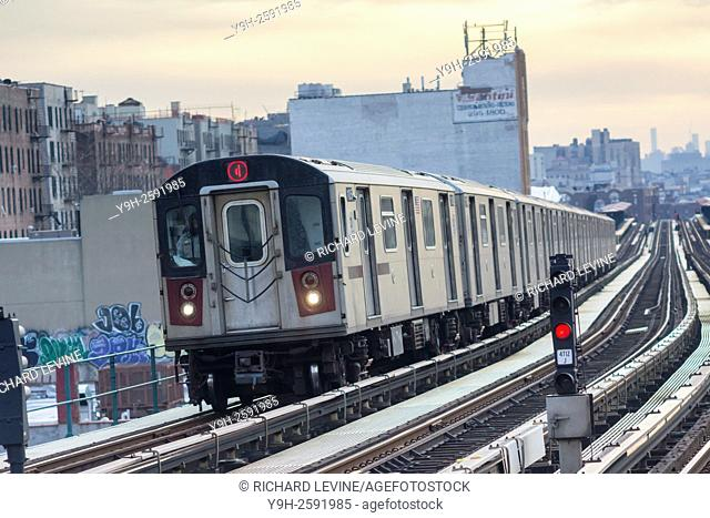 A Number 4 IRT elevated subway train in the Bronx in New York